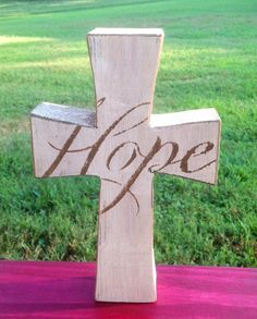 Handmade Hope Wood Cross Shelf Sitter Sign by SignsByLisa on Etsy