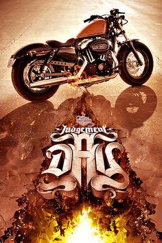 AGENCY: 303 Sydney Creative Director: Simon Langley Art Director: Ben Gartland Logo, & Poster Design for Australian Biker Build-Off Competition. Harley Davidson Sportster, Vintage Harley Davidson, Sportster 48, Milwaukee, Gp Moto, Motorcycle Posters, Motorcycle Garage, Harley Davison, Harley Bikes