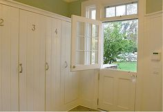 I love this concept with the dutch door out to the backyard!  Lockers inset into the wall.