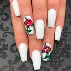 Flowers do not always open, but the beautiful Floral nail art is available all year round. Choose your favorite Best Floral Nail art Designs 2018 here! We offer Best Floral Nail art Designs 2018 .If you're a Floral Nail art Design lover , join us now ! White Acrylic Nails, Best Acrylic Nails, Acrylic Nail Designs, White Acrylics, Disney Acrylic Nails, Matte White Nails, White Coffin Nails, White Nail Art, Marble Nails