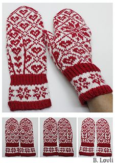Ravelry: Selbu i mitt hjerte pattern by StrikkeBea Knitted Mittens Pattern, Knit Mittens, Mitten Gloves, Crochet Dolls Free Patterns, Knitting Patterns Free, Free Knitting, Drops Design, Crochet Baby, Free Crochet
