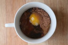 This is fun to watch cook in the microwave! Have made it three different ways: adding nuts, using white cocoa, and with a few chocolate chips ALL YUMMY - 3 Minute Chocolate Paleo Mug Cake