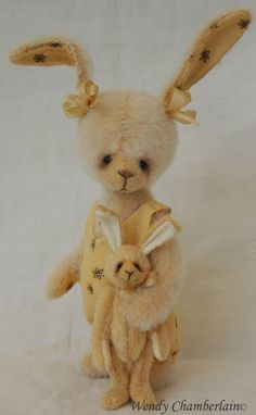 Emily & Wabbit. Hand crafted artist designed miniature rabbit and her tiny friend.