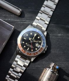 """Gefällt 718 Mal, 9 Kommentare - A Collected Man ® (@a_collected_man) auf Instagram: """"Live now. A gilt-dial @rolex GMT-Master 1675 from 1967, equipped with a stamped Rolex Oyster…"""" Dream Watches, Cool Watches, Rolex Watches, Rolex Gmt Master, Vintage Rolex, Live In The Now, Men's Fashion, Business, Accessories"""