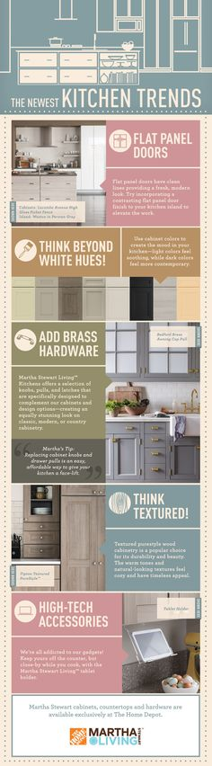 Planning a kitchen remodel? Here are five hot trends you need to know to help you build the ultimate the kitchen makeover. Find all you need and more from the Martha Stewart Living line available exclusively at The Home Depot.