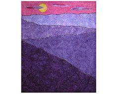 """Lavender Sunset"" Art Quilt by ForQuiltsSake. Island Batik fabrics, raw edge machine applique, machine quilted, machine couched yarn."