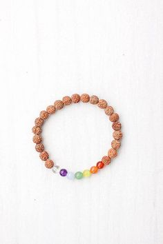 °Chakra Bracelet with Rudraksha seeds from Bali, Indonesia ~MalaCollective