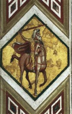 GIOTTO di Bondone Horseman of the Apocalypse  c. 1320 Fresco Lower Church, San Francesco, Assisi  The four fields in the crossing vault of the lower church are framed by broad, heavily ornamented borders with diamond-shaped, small format picture fields, all filled with motifs from the Apocalypse, including the four horsemen of the Apocalypse. The focus of this subsidiary pictorial program is the Apocalyptic Christ in the capstone of the crossing vault.