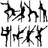 Big collect silhouettes dancing women, vector illustration, element for design stock photography