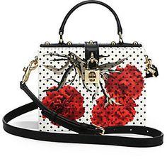 Dolce & Gabbana Polka-Dot Floral Textured-Leather Shoulder Bag