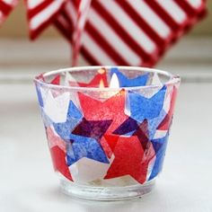 Learn how to make your own custom candle holders with the simple addition of tissue paper. Full tutorial!