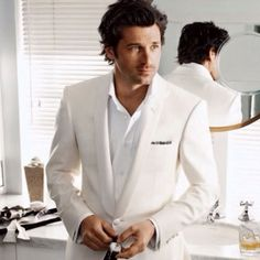 image of Menswear Fashion ♥ Patrick Dempsey ♥ White Groom Tuxedo Patrick Dempsey, Mode Masculine, Sharp Dressed Man, Well Dressed, Fashion Moda, Men's Fashion, Fashion Vintage, Spring Fashion, Pretty People