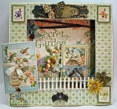 Graphic 45 Secret Garden.  So pretty.  I love these peek into type of layout/pages.  They add something so incredibly special to a scrapbook or altered book/journal