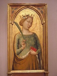 A crowned Virgin Martyr by Bernardo Daddi Italian Florence 1340 Tempera  #TuscanyAgriturismoGiratola