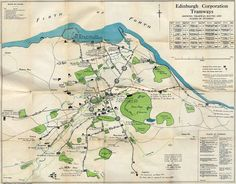 The tram network as it existed in Edinburgh in 1927