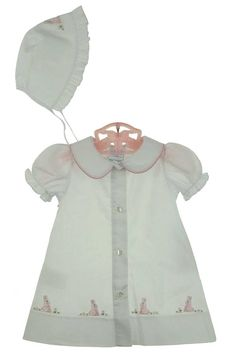 NEW Rosalina White Cotton Daygown and Matching Bonnet with Appliqued Pink Bunnies  $60.00
