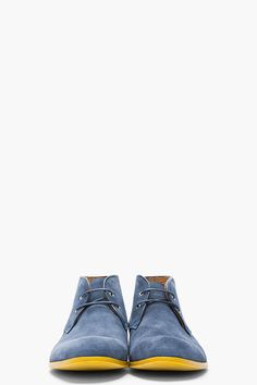 KENZO Blue Suede Yellow-Soled Hanly Desert Boots