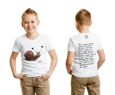 """Soft and Stylish Graphic Tee for kids.  #gogimogisnail  """"Snails have no ears, so they can't hear, but they have an advanced sense of smell.""""  Arts meets science in this playful and educational graphic tee by California-based design house Gogimogi.  Made with Premium Quality US Modal fabric, this t-shirt is white and features Gogimogi's Snail on the front and fun, engaging facts about the snail on the back. The shirt also carries the official Made in USA stamp of Gogimogi.  $25"""