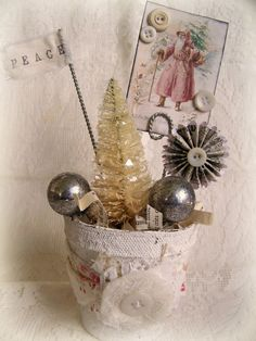 Winter White Decor Handmade  Christmas Decoration Vintage Christmas  Vintage Santa