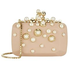 Elie Saab Pearl Embellished Box Clutch ($2,860) ❤ liked on Polyvore featuring bags, handbags, clutches, pearl handbag, beige handbags, party clutches, box clutch and pearl clutches