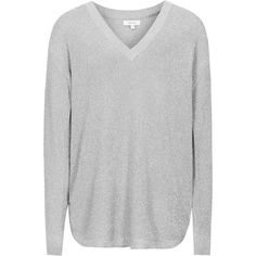METALLIC JUMPER ❤ liked on Polyvore featuring tops, sweaters, jumpers sweaters, silver top, jumper top, silver sweater and metallic top