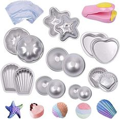 eZAKKA Bath Bomb Molds Metal DIY Bath Bomb Mould Fizzies Set with 200 Shrink Wrap Bags and 1 Mini Heat Sealer for Soaps, Fizzy Balls, 8 Sets 16 Pieces of Pack: Amazon.com.au: Beauty Bath Bomb Molds, Presents For Girls, Shrink Wrap, Handmade Soaps, Amazon Art, Sewing Stores, Soap Making, Bath Bombs, Sewing Crafts