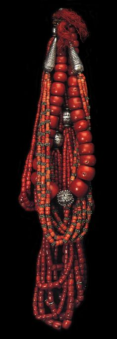 Yemen | Collection of coral and silver women's necklaces | ©The Splendour of Ethnic Jewelry: From the Colette and Jean-Pierre Ghysels Collection. Text: France Borel. Photographs: John Bigelow Taylor. Thames and Hudson, 1994. Page 115