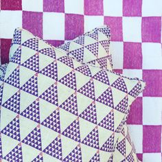 """Purple geometrics at ecru this morning. Pillows and rugs both available online at www.ecruonline.com and in store @alothmanfashion #ecru #color #interiors…"""