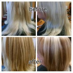 Sondra added dimension to this client's bleach blonde hair by adding 2 additional blonde colors and a lowlight.  Paul Hyland Salon and Day Spa, Crystal Lake, IL