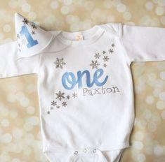 Winter Onederland Birthday Boy Set - Personalized - Snowflake Birthday Party Hat - Snowflake Birthday Shirt - Blue and Silver Birthday