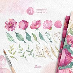 Watercolour Floral Clipart: 21 files Digital Paper by OctopusArtis