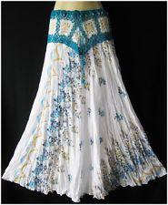 New White Floral Long Summer Beach Boho Gypsy Hippy Cotton Crochet Waist Skirt