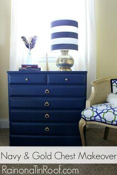 Navy and Gold Chest Makeovers via RainonaTinRoof.com #furnituremakeover #homeright #finishmax