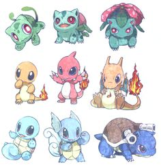 Adorable baby Pokemon starters. Squirtle, Wartortle, and Blastoise are my favorites! :D