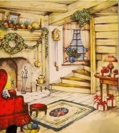 Christmas Eve I would love to have a home like this off in a forest close to town, where the deer could come & eat some fruit & berries with grains. I look at this Picture & dream of happy times.