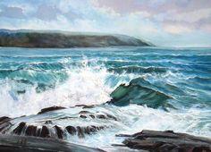 Paisajes y Bodegones: Pintura acuarela de paisaje marino con rocas
