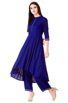 Rayon Kurta Set in Blue Embroidery On Kurtis, Kurti Embroidery Design, Top Colour, Color Blue, Blue Tops, Tunic Tops, Digital, Fabric, Image