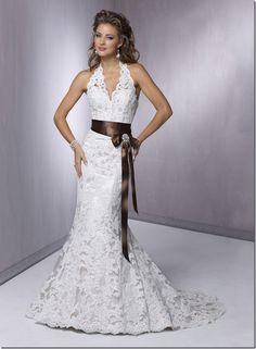 Maggie Sottero Karena Royale | All White, All Ivory, Ivory lace over Pearl Rose with Chocolate ribbon ...