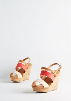 Keep Up the Good Cork Wedge in Coral. Maintain your marvelous reputation in these light brown wedges!  #modcloth