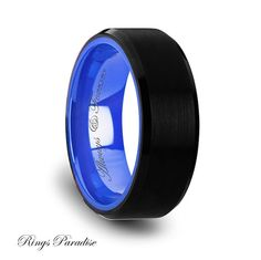 High Quality in Style Women's and Men's Tungsten Rings      Black Tungsten Comfort Fit Wedding Band with Brush Center Bright Bevels and Deep Blue inside color - 8mm    To better describe the Jewelry Peaces from my shop to my Customers I disided to create my YouTube Cannel, where I show in a short videos how the jewelry peaces look in real life.    Please, use the like bellow:  https://www.youtube.com/watch?v=OSO6M8Cig98    FINISH POLISHED  THICKNESS 2.0 MM - 2.2 MM  WEIGHT6 - 13 GRAMS…