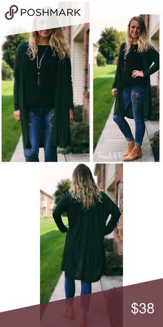🆕🌸 Olive Open Duster Cardigan Olive open duster cardigan. Light weight made of cotton/poly blend. Great staple to your fall/winter wardrobe. Size S, M, L Threads & Trends Sweaters Cardigans