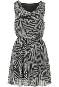 Sheinside - Black Round Neck Sleeveless Striped Chiffon Dress