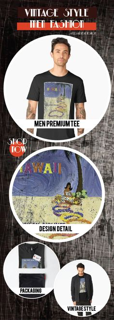 Men�s Premium T-Shirt  Vintage Travel Poster, Aged and Weathered - Hawaii 5  Design inspired by vintage travel and advertisements posters from the late 19th century.  (Also available in mugs, shirts, duvet covers, acrylic , phone cases,   kid fashion, clo