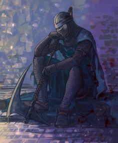 axe belt blue_eyes cape chainmail creighton_of_mirrah helmet highres male mask sitting souls_(from_software) surcoat weapon Fantasy Armor, Medieval Fantasy, Dark Fantasy, Arte Dark Souls, Dark Souls 2, Dark Souls Characters, Fantasy Characters, Soul Saga, Character Art