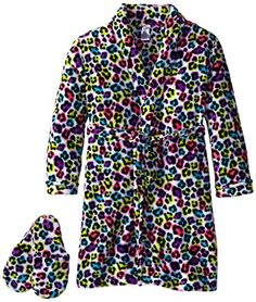 Sleep & Co Girl's Plush Leopard Bathrobe and Slipper Gift Set: Long-sleeve shawl-collar robe featuring allover animal print with self-tie belt at waist and print-matched slippers Kids Slippers, Disney Sweaters, Toddler Girl Outfits, Birthday Shirts, Latest Fashion Trends, Girl Fashion, Lady, My Style, Plush