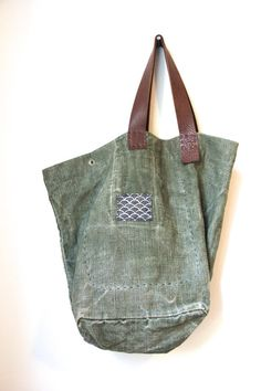 Headlands Trail Tote Bag - Repurposed Vintage French Military Linen Canvas Eco Leather Tote Bag