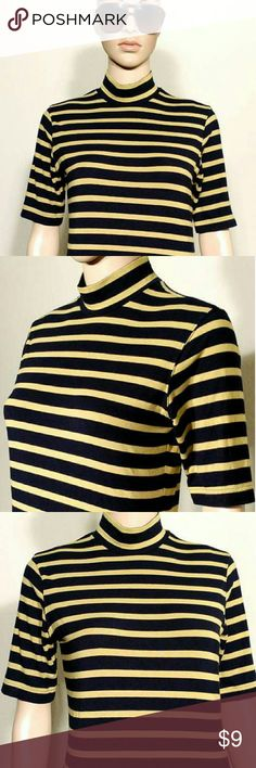 Banana Republic Womens Black Striped Yellow Shirt Size S SMALL 85% Rayon 15% Spandex In Very good condition!! Very adorable!! A great gift!! Fast shipping!! Banana Republic Tops Tees - Short Sleeve