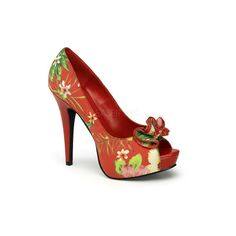 Red Tropical Print Peep Toe Lolita Heels ($49) ❤ liked on Polyvore featuring shoes, pumps, peep-toe pumps, platform pumps, sexy red pumps, sexy high heel shoes and high heel pumps