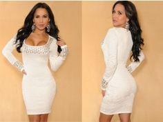Women's Pencil Dress Plunge O-Neck Slim Bodycon Dress White Cheap Dresses, Sexy Dresses, Fashion Dresses, Dresses 2014, Mini Dresses, Women's Fashion, White Long Sleeve Dress, White Dress, Sleeved Dress