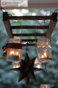 Unique patio light uses an old rustic ladder